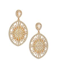 Adriana Orsini | Metallic Radiance Pavé Oval Drop Earrings/goldtone | Lyst