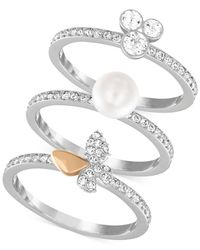 Swarovski - White Two-tone Crystal And Imitation Pearl Pavé Ring Set - Lyst