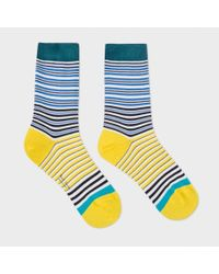 Paul Smith | Blue Women's Navy And Yellow 'mainline Stripe' Socks | Lyst