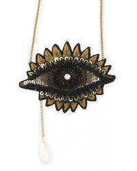Forest Of Chintz | Metallic Embroidered Brown Eye Necklace | Lyst