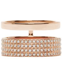 Repossi - Pink Rose Gold And Diamond Double_Band Berbere Ring - Lyst