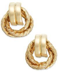 Macy's | Metallic 14k Gold Rope Door Knocker Earrings | Lyst