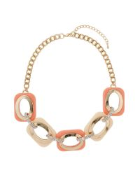 Mikey | Pink Enamel Square Crystal Links Necklace | Lyst