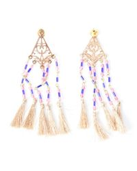 Chamak by Priya Kakkar | Metallic Rose Gold And Pink Beaded Fringe Chandelier Earrings | Lyst