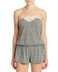 Lucky Brand - Gray Crochet Detail Romper - Lyst