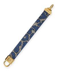 Tory Burch - Lockclosure Woven Raffia Bracelet Blue Leopard - Lyst