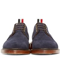 Thom Browne - Blue Lace-Up Suede Derby Shoes for Men - Lyst