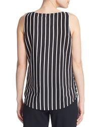 DKNY | Black Striped Silk Tank | Lyst