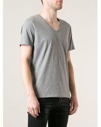 DIESEL - Gray V-Neck T-Shirt for Men - Lyst