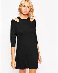 ASOS - Black Shift Dress With Cold Shoulder - Lyst