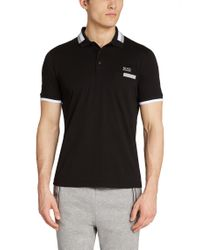BOSS Green | Black Regular-fit Golf Polo Shirt 'paddys' In Cotton for Men | Lyst