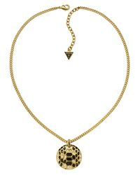 Guess | White Serpent Disc Necklace | Lyst