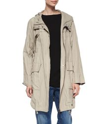 Eileen Fisher - Natural Textured Hooded Metallic Anorak Jacket - Lyst