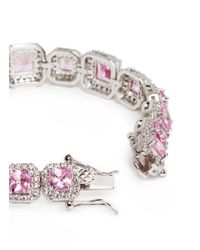 CZ by Kenneth Jay Lane - Pink Princess Cut Cubic Zirconia Pavé Bracelet - Lyst
