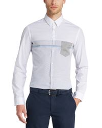 BOSS Green White 'bour'   Slim Fit, Stretch Cotton Button Down Shirt for men
