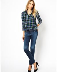 IRO | Blue Brushed Cotton Plaid Shirt | Lyst