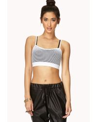 Forever 21 | White Show Off Netted Crop Top | Lyst