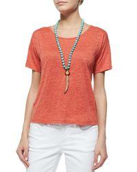 Eileen Fisher - Red Short-sleeve Organic Linen Tee - Lyst