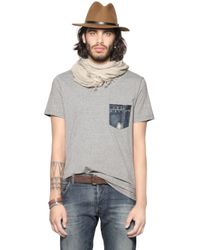 DIESEL | Gray Cotton Jersey T-shirt W/ Denim Pocket for Men | Lyst
