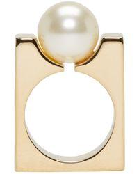 Chloé | Metallic Gold Swarovski Pearl Darcey Ring | Lyst