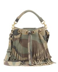 Saint Laurent - Natural Emmanuelle Small Fringed Leather Bucket Bag - Lyst