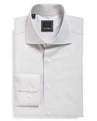 David Donahue | Gray Traditional Fit Check Dress Shirt for Men | Lyst