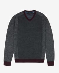 Ted Baker - Gray Color Block V-neck Sweater for Men - Lyst
