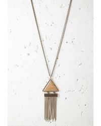 Forever 21 - Metallic Fringed Triangle Pendant Necklace - Lyst