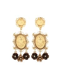 Dolce & Gabbana | Metallic Madonne Embellished Clipon Earrings | Lyst