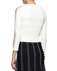 Alexander McQueen - White Perforated Long-sleeve Squiggle Sweater - Lyst