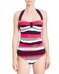 Tommy Bahama | Blue Bold Stripe And Anchor Halter Tankini Top | Lyst