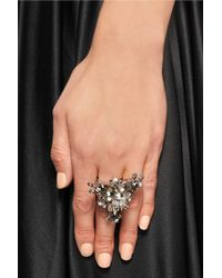 Givenchy - Gray Cocktail Ring In Palladium-Tone Brass, Crystal And Faux Pearl - Lyst