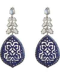 Annoushka - Blue Arabesque 18ct White-gold, Lapis, Sapphire And Diamond Earrings - Lyst