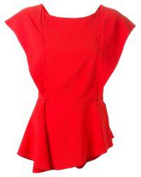 Vionnet - Red Draped Asymmetric Blouse - Lyst