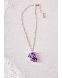 Missguided | Semi-precious Stone Pendant Necklace Purple | Lyst