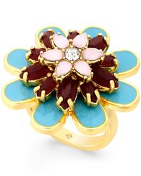Kate Spade | Metallic Gold-tone Multicolored Flower Ring | Lyst