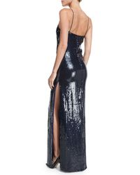 Nina Ricci - Blue Sequined V-neck Spaghetti-strap Gown - Lyst