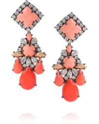Shourouk | Pink Gunmetal-tone Crystal Earrings | Lyst