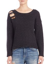 Wildfox | Black Dinner Party Distressed Crewneck Sweater | Lyst