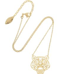 KENZO | Metallic Tiger Gold-plated Cubic Zirconia Necklace | Lyst