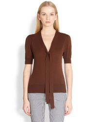 Michael Kors | Brown Puffed Sleeve Tieneck Sweater | Lyst