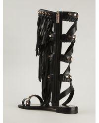 Ivy Kirzhner - Black 'Roman' Fringed Sandals - Lyst