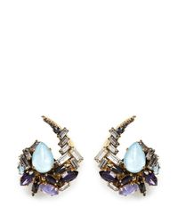 Erickson Beamon | Multicolor 'lady Of The Lake' Swarovski Crystal Swirl Earrings | Lyst