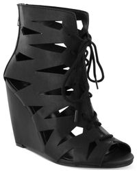 MIA - Black Juna Caged Lace-Up Wedge Sandals - Lyst
