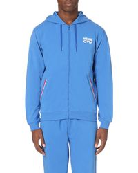 Moschino | Blue Logo-print Stretch-cotton Hoody for Men | Lyst