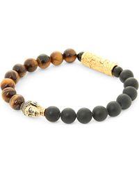 Nialaya | Black 18ct Gold Buddha Beaded Bracelet | Lyst