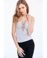 Project Social T | Gray Lace-up Ribbed Tank Top | Lyst