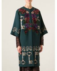 Dolce & Gabbana | Green Floral Embroidered Cape Coat | Lyst