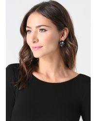 Bebe - Black Crystal Cluster Earrings - Lyst
