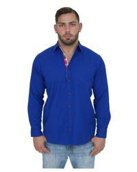 Giorgio Bellini - Blue Monaco Linen Blend Button Front Shirt for Men - Lyst